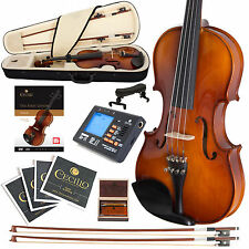 NEW CECILIO 1/2 EBONY FITTED VIOLIN +TUNER+BOOKS