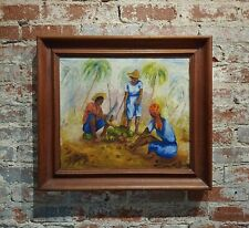 Raoul Dupoux - The Coconut Cracker -Haiti 1959 Oil painting