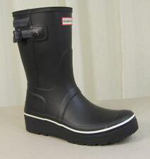 NEW HUNTER Original Short Platform Wedge Rubber Rain Boots US 10 Black w/Stripe