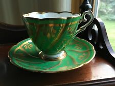 Royal Stafford Green with gold bone china Tea Cup & Saucer
