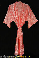 Thai Silk Kimono / Robe / Dressing Gown / Peach / Night Dress / Floral Pattern