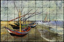 36x24 Van Gogh Fishing Boats Fine Art Tile Mural