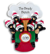 Black Bears in Train Personalized Family Ornament 6 Hand Painted Resin Deb & Co