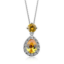 GORGEOUS 18K WHITE GOLD PLATED GENUINE TOPAZ CZ & AUSTRIAN CRYSTAL NECKLACE