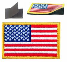 American Flag Embroidered Patch Gold Border Usa Us w/ Hook & loop backing