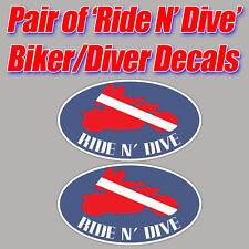 Ride N' Dive scuba sticker decal diver down biker graphic bubbles toolbox gears