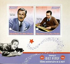 Ivory Coast 2016 MNH Walt Disney 50th Memorial Anniv 2v M/S Stamps