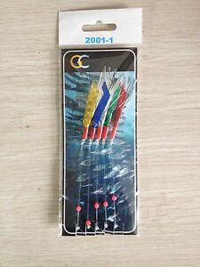 10 X 5HOOKS 2001-1 Flash Mackerel Feathers Hokkai hockeye sea lure tinsel sea