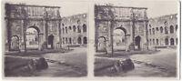 Roma Italia Arco Di Constantin Stereo di Carta Vintage Analogica Ca 1915