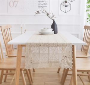 Boho Crochet Table Runner Farmhouse Ivory Lace Table Runner Doilies Table Cover