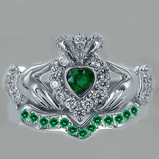Natural Heart Shape Emerald & Diamond Bridal Set Claddagh Ring 14k White Gold