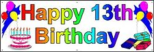 HAPPY 13TH BIRTHDAY BANNER 2FT X 6FT NEW LARGER SIZE