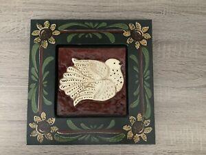 American Folk Art, UNIQUE Handcrafted, Framed Tile