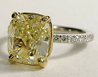 New 1.80 Ct Cushion Cut Canary Diamond Engagement Ring SI1 EGL 18K YG & Platinum