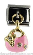 Pink And Gold Purse Handbag 9mm Italian Charm Stainless Modular Dangle Link