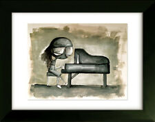 Limited Edition Drawing with Frame - Piano - Art by SLAZO - 16x20
