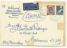 Germany Scott #682 #701 on Air Mail Cover to USA