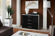 SB GO 5 - White & black 4 drawer contemporary dresser / chest of drawers