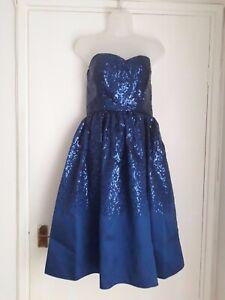 Size 12 Royal Blue Sequinned Strapless Evening Dress by Goddiva.