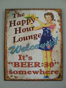 Metal Sign,Advertisement Sign, Happy Hour Lounge, Pubs Wall Sign 25x20 CM