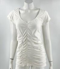 Mossimo Top Sz L / XL White Ruched Stretch Short Sleeve Fitted Tee Shirt Womens