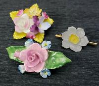 3 VTG Floral Roses Daffodil Porcelain Figural Brooches Made in England