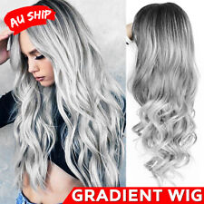 Fashion Grey Lace Front Wig Long Wavy Ombre Heat Resistant Synthetic Hair Wigs