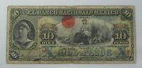 MEXICO EL BANCO NACIONAL MEXICO 10 PESOS P#S258 VG 1909