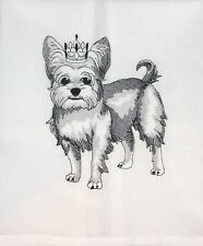 YORKIE CR0WNED - LARGE DESIGN - EMBROIDERED ON A WHITE KITCHEN TOWEL