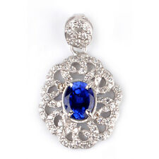 2.80Ct 14KT White Gold Natural Blue Tanzanite EGL Certified Diamond Pendant