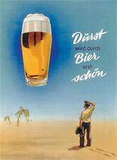 Durst wird durch Bier schön Magnet 6x8cm Kraftmagnet Kühlschrankmagnet PC301/058
