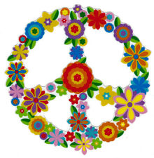 Hippie Flower Peace Sign - Peace Symbol Window Art Sticker / Decal