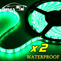 2X Vivid Green 5M Waterproof 300 LED 3528 SMD Car Boat Flexible Light Strip 12V