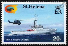 HMS LEEDS CASTLE P258 Patrol Warship & Sea King Helicoptor Stamp (Falklands War)