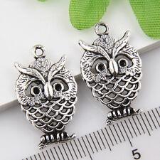 20Pcs Tibetan Silver Owl Pendants Charms 25*15mm 1A1820