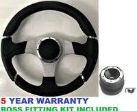 """AFTERMARKET 350MM 13.7"""" INCH SPORT RACING STEERING WHEEL AND BOSS KIT HUB FIT VW"""