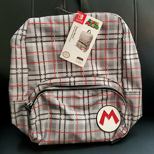 Nintendo Switch Super Mario Collection Mini Backpack Plaid Pattern - NWT