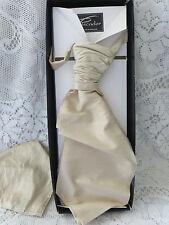 PISCADOR FANCY IVORY 100% SLUB SILK CRAVAT & HANDKERCHIEF WEDDING STEAMPUNK