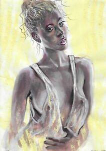 original painting A4 526UV art samovar Mixed Media female half naked Signed 2021