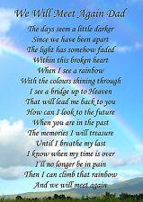 We Will Meet Again Dad Memorial Graveside Poem Card & Free Ground Stake F129