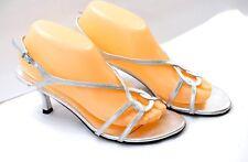 EUC Stuart Weitzman Women's Size 8W Stylish Silver Strappy Heel Sandals