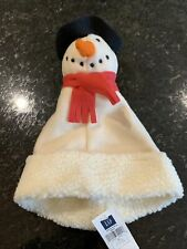 NWT BABY GAP 0-6 Months Snowman Knit Hat Ivory Red CHRISTMAS