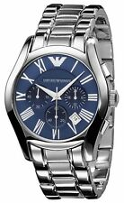 Emporio Armani AR1635 Classic Blue Chrono Stainless Steel Mens Watch Nuevo