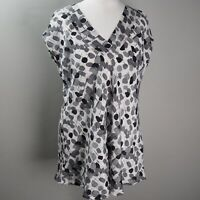 Masai V Neck Top Size XS UK 8 10 Spotty Grey White Black Lagenlook Loose Smock