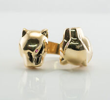 Genuine Ruby Panther Ring 14K Gold Two Animal Panthers Leopard Very Unusual