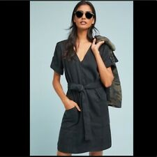 Anthropologie Pilcro and the Letterpress Classic Shirt Dress in Black L UK 12-14
