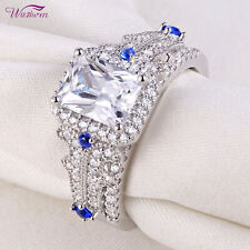 Cz Blue 925 Sterling Silver Sz 7 Wedding Rings Engagement Ring Set 2.8ct Emerald