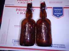 2X Grolsch Amber Glass Beer Bottle -  new seals on all - for home made brew