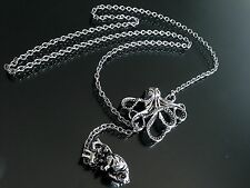 Silver Octopus & Anatomical Heart Lariat Pendant Necklace--Stainless Steel Chain