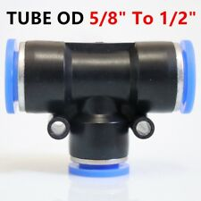 5X Pneumatic Reduced Tee Union Push In Fitting Tube OD 5/8 To OD 1/2 One Touch